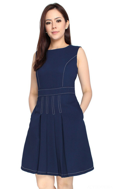 Contrast Stitch Pleated Dress