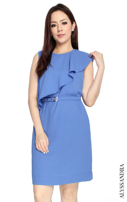 Ruffled Overlay Dress - Periwinkle