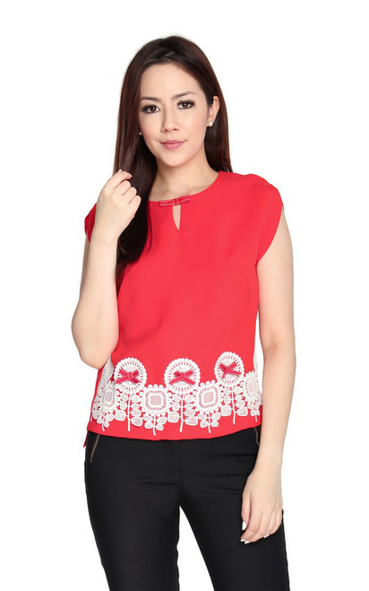 Lace Motif Top - Vermillion