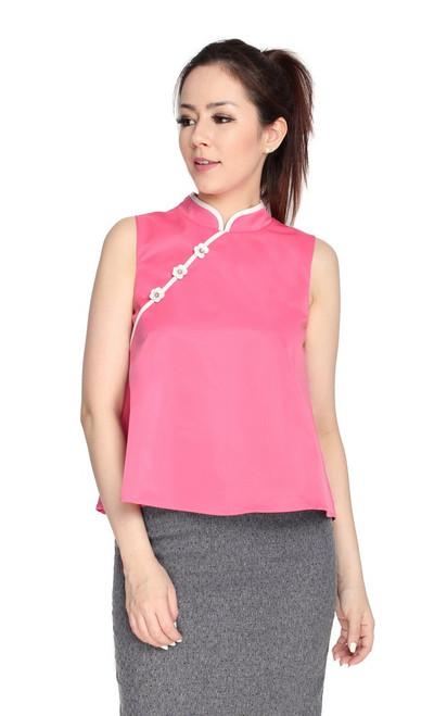 Trapeze Cheongsam Top - Pink