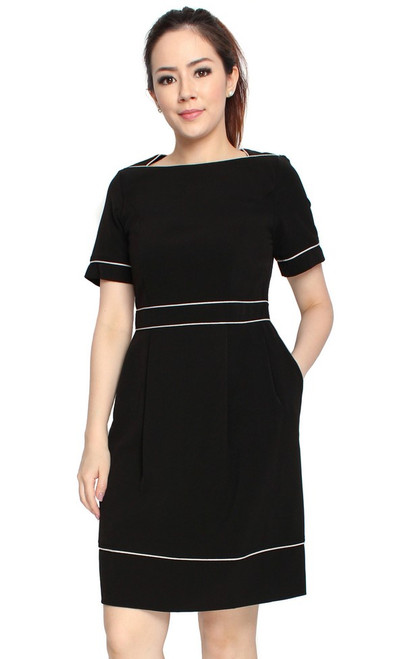Square Neck Contrast Trim Dress - Black
