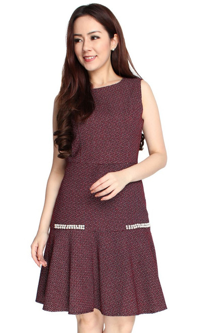 Pearl Tweed Mermaid Dress - Wine
