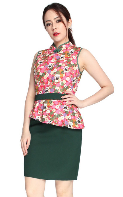 Peplum Cheongsam Dress - Forest Green