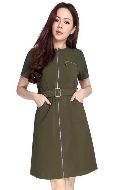 Zipper Dress - Olive