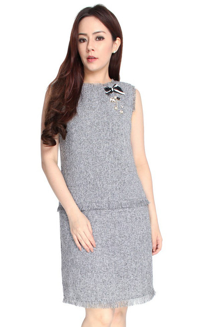 Fringed Tweed Drop Waist Dress