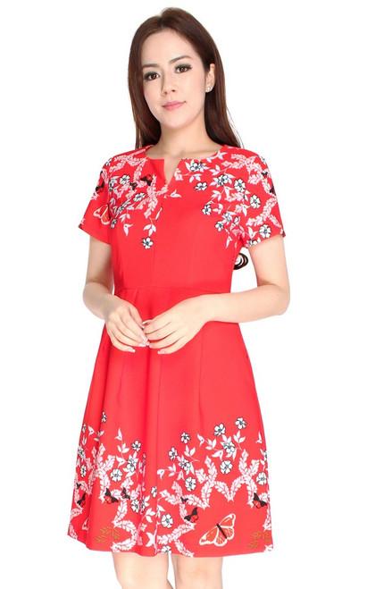 Gardens Notch Neck Dress - Red