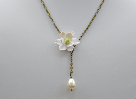 Helena Drop Necklace in White Magnolia with Pearl
