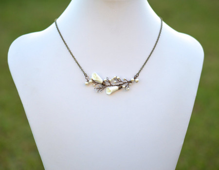 Emily Ivory Calla Lily Vine Style Necklace