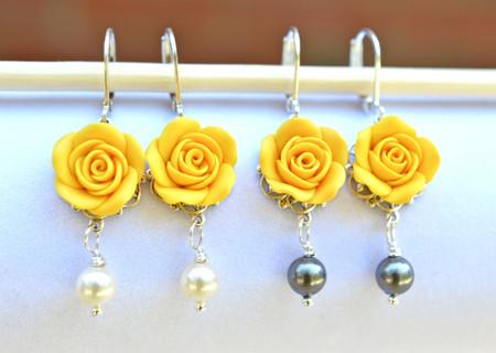 Tamara Statement Earrings in Yellow Rose