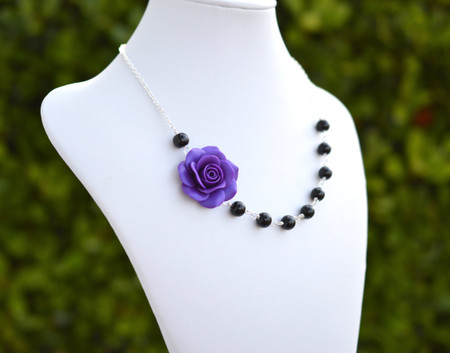 Jessica Asymmetrical Necklace in Violet Rose and Black Beads. FREE EARRINGS