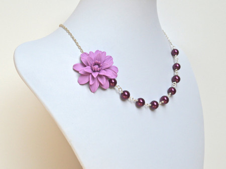 Leah Asymmetrical Necklace in Lilac Dahlia and Burgundy Pearls. FREE EARRINGS