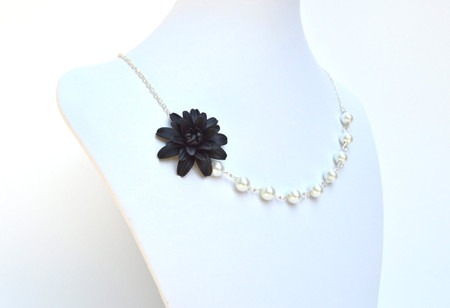 Leah Asymmetrical Necklace in Black Dahlia. FREE EARRINGS