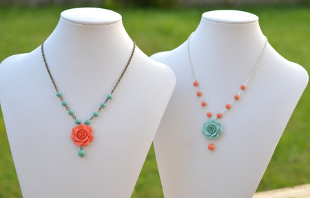 Hannah Centered Necklace in Coral or Dusty Mint Rose