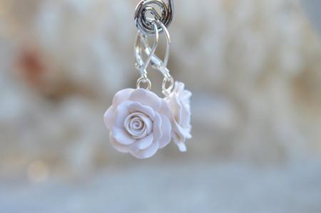 White Rose Simple Dangle Earrings
