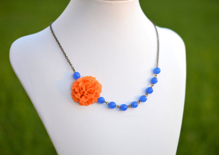 Leah Asymmetrical Necklace in Orange Carnation with Royal Blue Stones. FREE EARRINGS