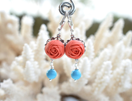 Richelle Statement Earrings in Coral Ranunculus and Turquoise Beads