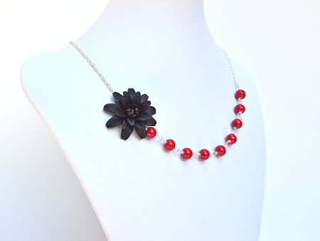 Leah Asymmetrical Necklace in Black Dahlia with Red Beads. FREE EARRINGS