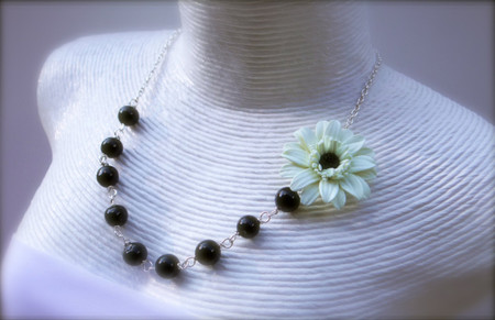 Leah Asymmetrical Necklace in Ivory Gerbera Black Center with Black Beads . FREE EARRINGS