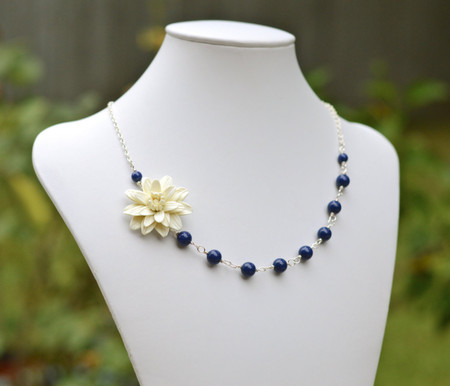 Brenda Asymmetrical Necklace in  Ivory Dahlia and Dark Blue Swarovski Pearls. FREE EARRINGS