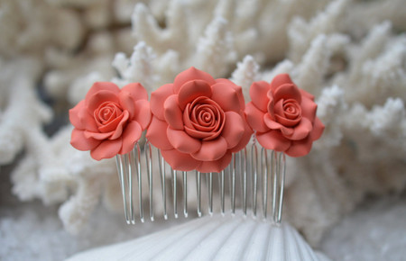 Vivian Hair Comb in Coral Rose