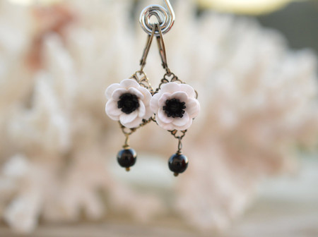 Richelle Statement Earrings in Black and White Anemone/Poppy with Black Beads.