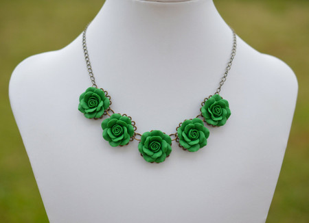 Emerald Green Roses Statement Necklace