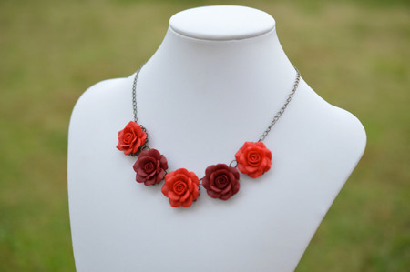 Red Rose Satement Necklace