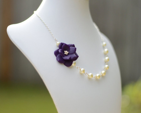 Brenda Asymmetrical Necklace in  Deep Purple Garden Rose. Free Earrings