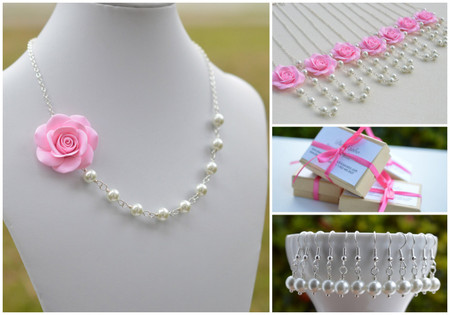 Jessica Asymmetrical Necklace in Baby Pink Rose. FREE EARRINGS