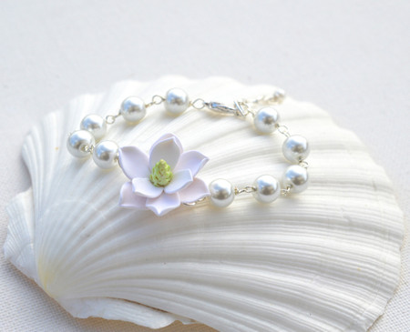 Andrea Link Bracelet in Southern White Magnolia and Pearls