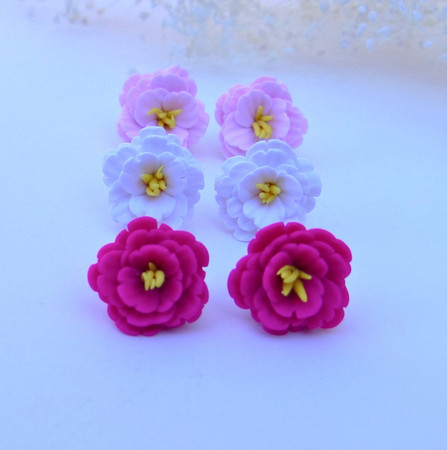 Cherry/Sakura Blossom Stud Earrings