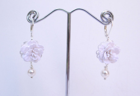 Richelle Statement Earrings in White Cherry Blossom/Sakura