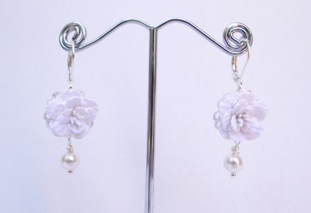 Richelle Statement Earrings in White Cherry Blossom/Sakura
