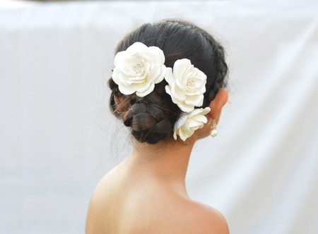 Rosemarie Hair Clips/Pins in White Rose Large Set of 3