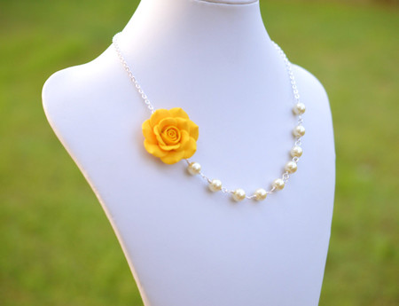 Jessica Asymmetrical Necklace in Golden Yellow Rose. FREE EARRINGS