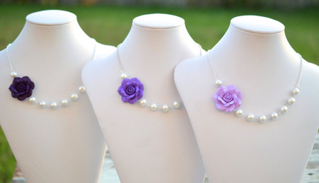 Olivia Asymmetrical Necklace in Purple Shades Rose ( Amethyst, Lavender, Deep Purple). FREE EARRINGS
