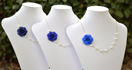 Jessica Asymmetrical Necklace in Blue Shades Rose ( Navy Blue, Cobalt Blue, Royal Blue).FREE EARRINGS