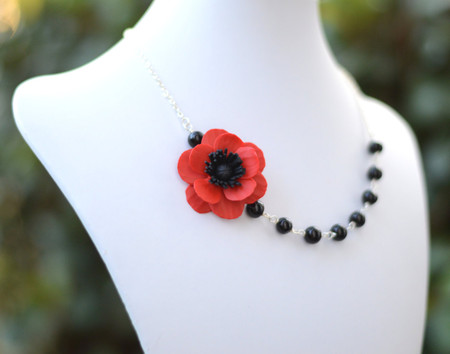 Leah Asymmetrical Necklace in Red Poppy/Anemone with Black Beads. FREE EARRINGS