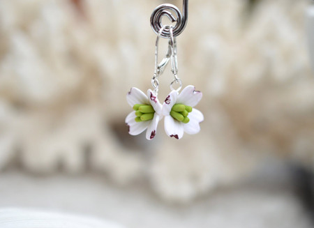 Dogwood Simple Dangle Earrings in White and Pink