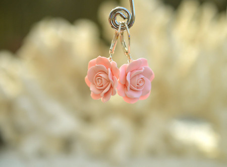 Pink Shade Rose Simple Dangle Earrings in Pastel Blush,Dusty Pink Rose, Strawberry