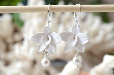 Eva Statement Earrings in White Orchid