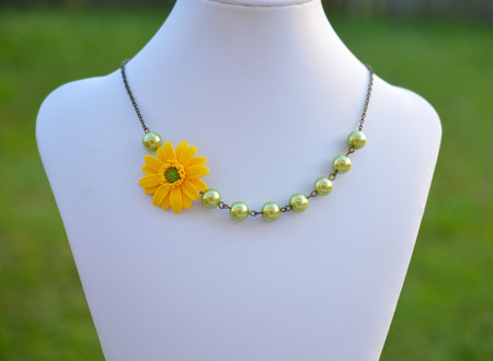 Olivia Asymmetrical Necklace in Yellow Gerbera Daisy and Spring Green Pearls. FREE EARRINGS