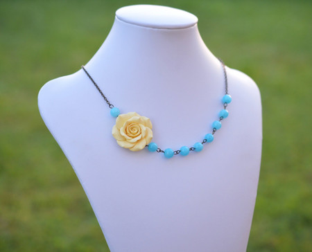 Leah Asymmetrical Necklace in Pale Yellow Rose and Sky Blue Stones. FREE EARRINGS