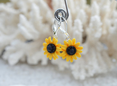 Yellow Sunflower Simple Dangle Earrings.