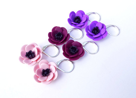 Simple Dangle Anemone Earrings in Pink Apricot, Purple and Eggplant