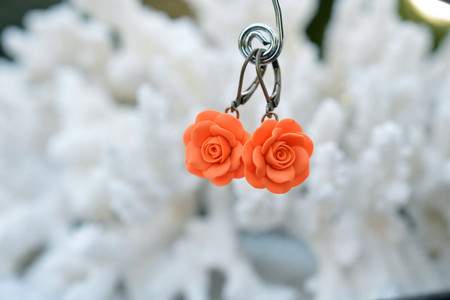Orange Rose Simple Dangle Earrings.