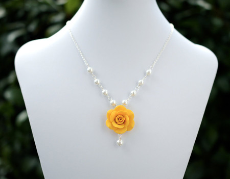 Hannah Centered Necklace in Golden Yellow  Rose with Pearls