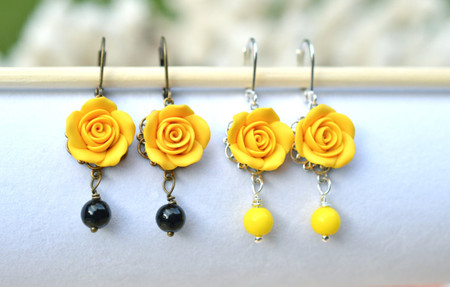 Tamara Statement Earrings in Yellow Rose with Black or Yellow Beads.