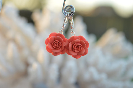 Coral Rose Simple Dangle Earrings.