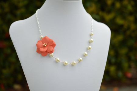 Brenda Asymmetrical Necklace in  Coral Orange Garden Rose. FREE EARRINGS